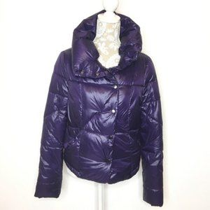 KENNETH COLE ASYMMETRICAL PUFFER JACKET XS Purple